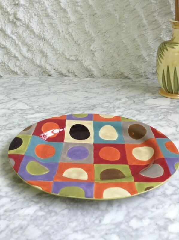 Pier 1 One Urban Dot 16 Inch Oval Serving Platter Excellent Condition