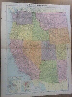 Vintage Antique 1939 Philips Map 20x15 W USA SAN Francisco Los Angeles West US