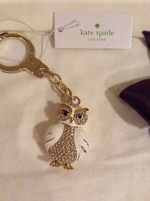 KATE SPADE JEWELED OWL KEYCHAIN  FOB GOLD/WHITE DRAW STRING POUCH NWT