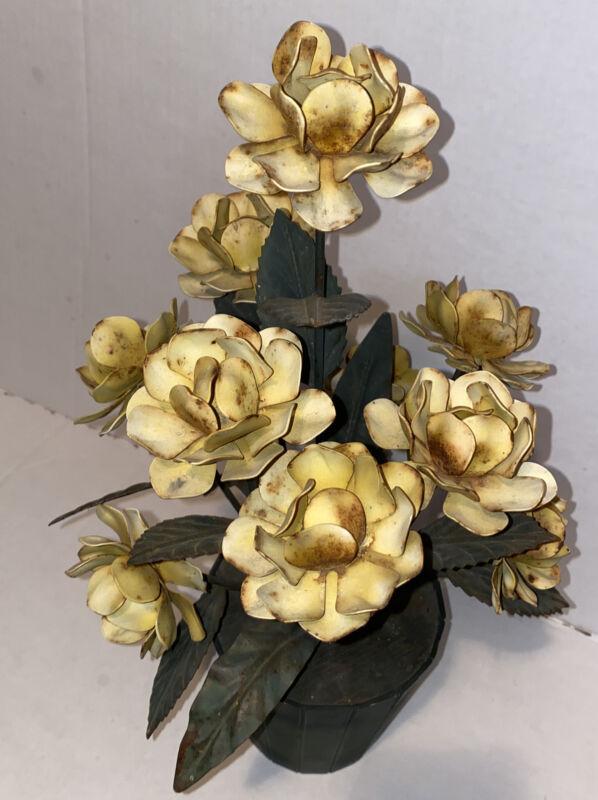 Vintage Union  Tole Flowers Floral Planter Flower Pot rare Yellow Roses
