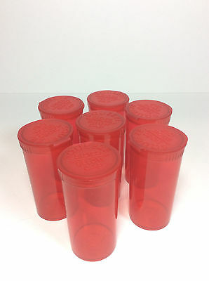 7 Pc Red 13Dr Med Rx Bottle Container Pop Top Squeeze Bottle 32Mm  X 70Mm Tube