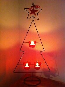 Stunning-Christmas-Tree-Metal-Candle-Holder-3-Red-Glass-Tea-Light-Holders-stand