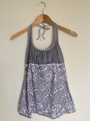 Lululemon Size 10 Halter Tank Top Floral Gray White Flowers Ruched Ties RARE