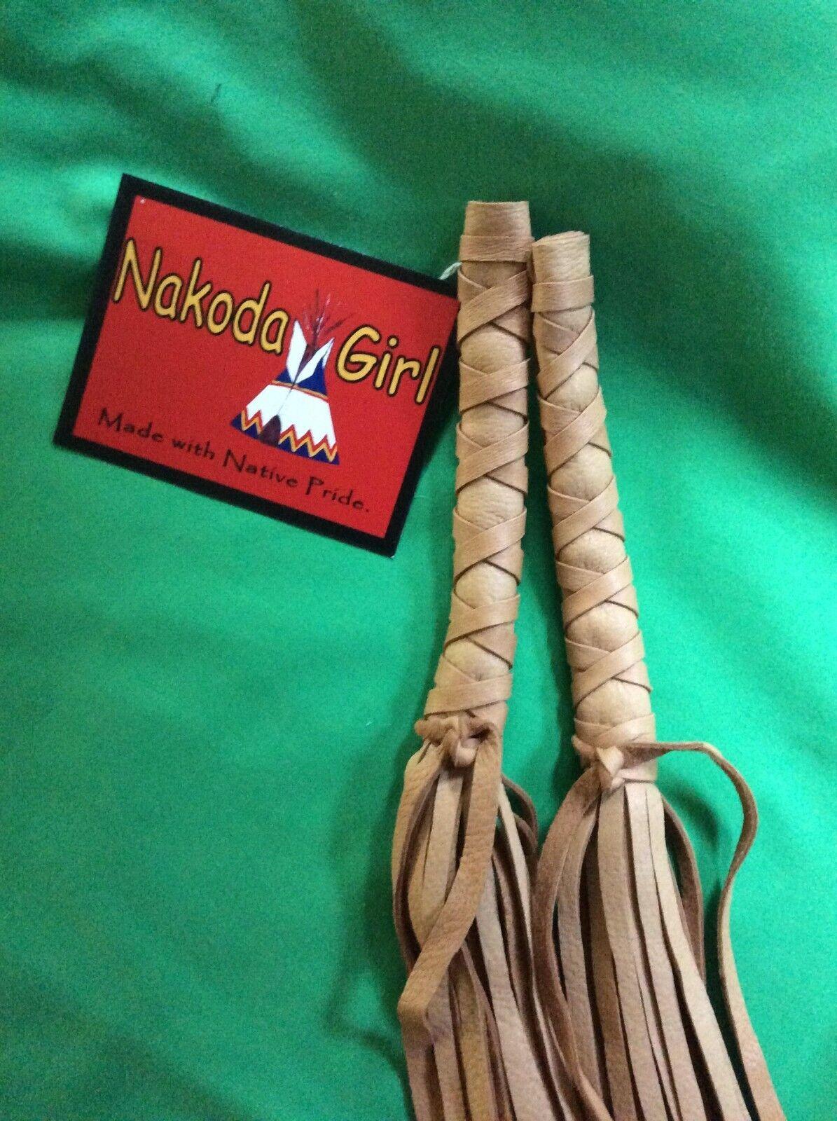 NATIVE AMERICAN*NAKODA MADE*TRADITIONAL HAND CUT BUCKSKIN HAIR WRAPS 10' long
