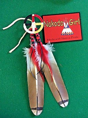 NATIVE AMERICAN REGALIA*NAKODA MADE*REPLICA RED TAIL HAWK  & MEDICINE WHEEL