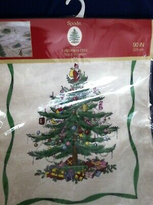 "Spode Damask Cloth Christmas Tree Holly Table Runner Ivory 90"" x 14"" - NEW!"