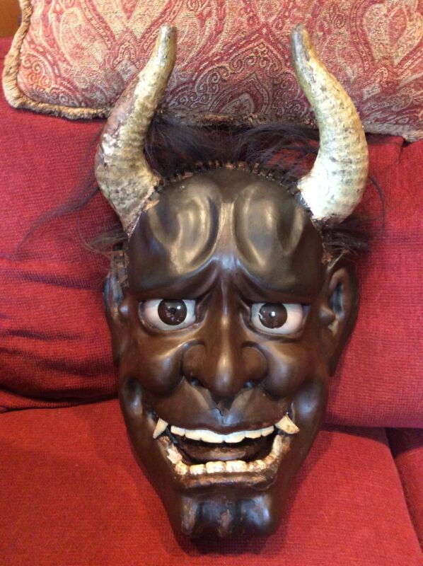 Antique Japanese Carved Wood Gesso Oni Hanna Mask Edo - Meiji period Glass Eyes