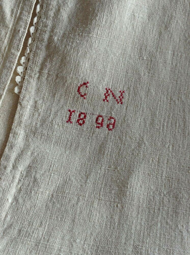Antique French Linen Long Sleeve night dressing gown smock shirt dress 19th 1898