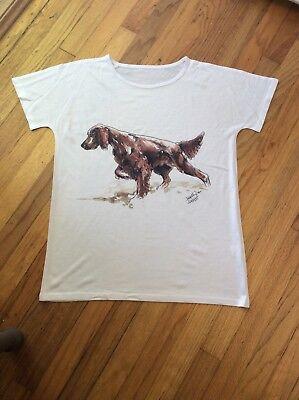 AKC dog breed ladies Irish setter hunt bird dog novelty t-shirt blouse large