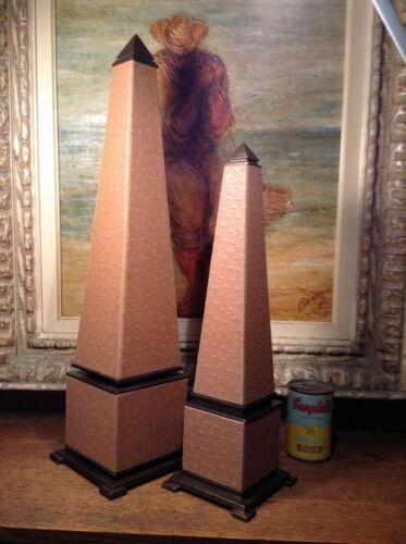 Hollywood Regency Ostrich Leather Bronze Obelisk 2Pc