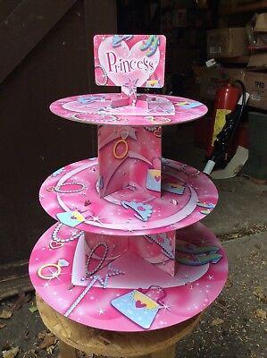 Princess Cardboard Cupcake Stand 3-Tier Round Tower - Children's (Cardboard Cupcake Stand)