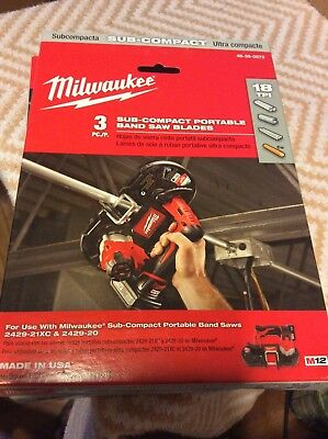 Milwaukee Sub-compact Portable Band Saw Blades 3 Pc. 48-39-0572