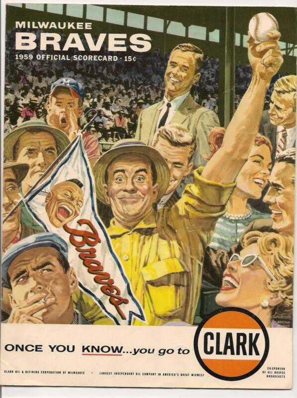 1959 Milwaukee Braves-Phillies Program Braves Win 3 of 4 NICE!!
