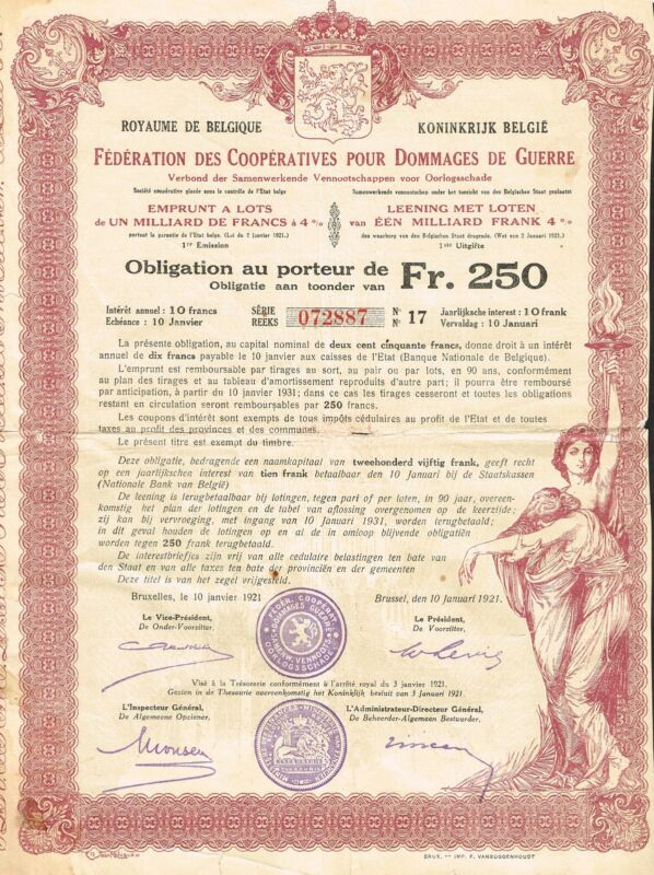 BELGIUM WAR DAMAGE BOND stock certificate 1921 BRUSSELS
