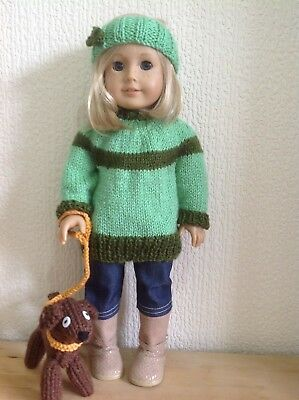 """Dolls clothes knitting pattern.18"""" doll. Dress, Jumper and pet dog. KNM84"""