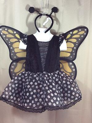 Black Polka Dot BUTTERFLY FAIRY Costume Girls 4T (4t Butterfly Costume)