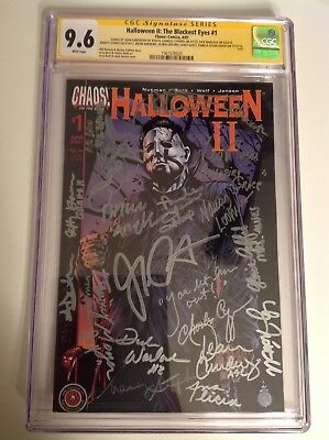 CGC SS 9.6 Halloween II The Blackest Eyes #1 cast signed Halloween 2 Curtis 20x