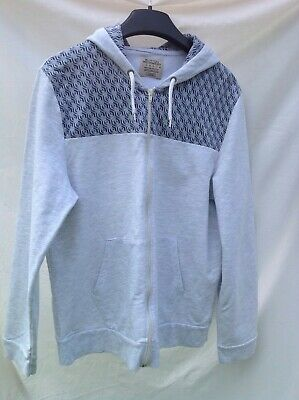 BURTON MENSWEAR GREY / BLUE MIX ZIP FRONT HOODIE SIZE LARGE CHEST 41-44 inches