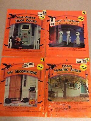 Lot of 4 Halloween Decorations Streamers Door Cover Giant Hanging Spider - Giant Halloween Decorations