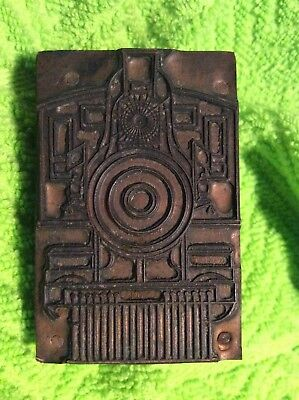 Antique Railroad Train Locomotive Engine Copper Print Block. 2.375 T 1.5 W