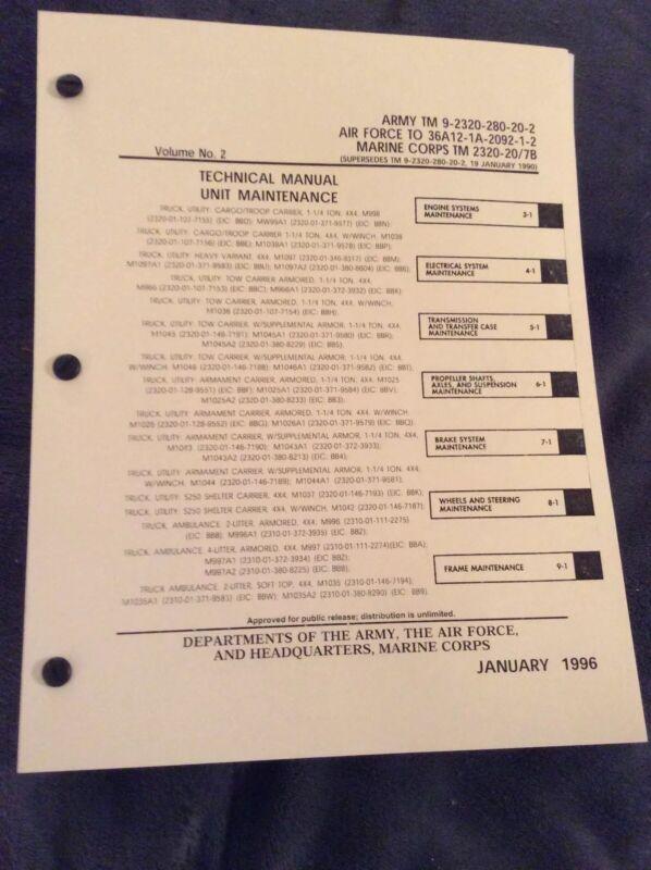 HUMVEE Tech Manual Unit Maintenance TM-9-2320-280-20-2 Volume 2