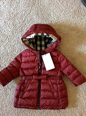 NWT BURBERRY BABY CHILD CRIMSON RED BOW NOVA CHECK PUFFER JACKET COAT 6 MONTHS