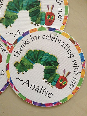 The Very Hungry Caterpillar Party Favor Tags Birthday Party Personalized 12 pk