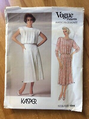 American Designer Vogue Sewing Pattern 1544 Kasper DRESS UK Size 8, uncut