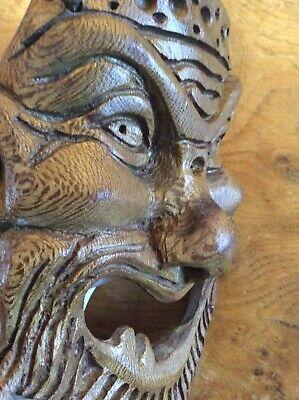 Hand Carved Olive Wood Depiction of an Ancient Mythological God Mask for wall