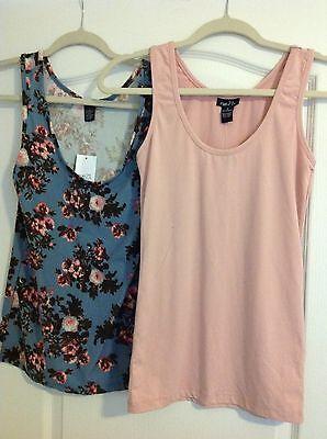 Women Lot 2 Tank Tops Cami Shirts Rue21 Spandex Pink   Blue  Size Medium Nwt