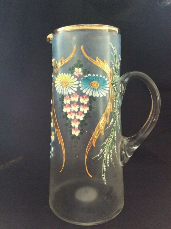 Victorian Handblown Glass Jug with Handpainted Enamel Flowers and Applied Handle