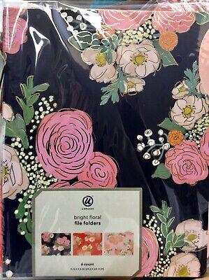 U Brands Bright Floral File Folders Navy Red Pink 2 Each Gold Embossed 6 Ct Nip