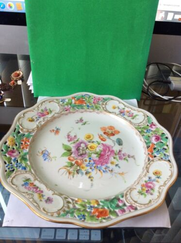 Carl Thieme Dresden Porcelain Reticulated Hand Painted Dinner Plate  - 10 1/2""