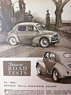 RENAULT 750 FOUR-DOOR SALOON -1955 - Road Test removed from The Autocar