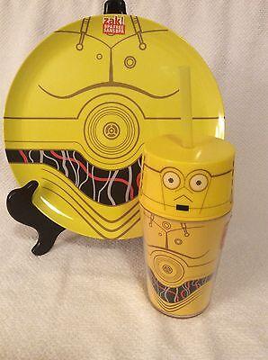 Star Wars C3PO Melamine Plastic Dinner Plate W/ Tumbler Straw Cup Child Gift - Stars Wars Gifts