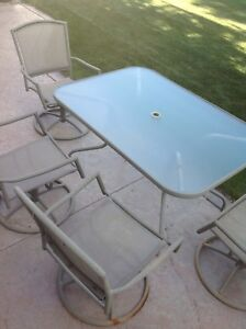 Patio Table & 4 Swivel Chairs For Sale