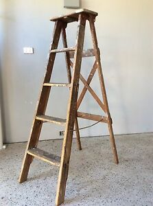 Vintage industrial Timber ladder by Kennett Ladders Sydney Duncraig Joondalup Area Preview
