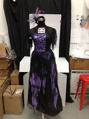 Tulle Witch Costume (Girls XL Halloween Long Tulle Lace Witch Dress Eyelashes Spider Hat Hocus)