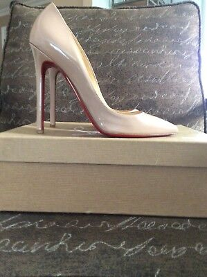 New Christian Louboutin So Kate 120mm Nude Patent Leather Pumps Heels Size 37.5