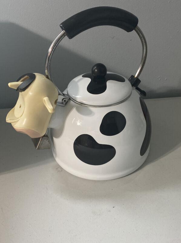 VTG M Kamenstein Whistling Cow Tea Kettle Teapot Cowbell Bells Tail EUC 1990