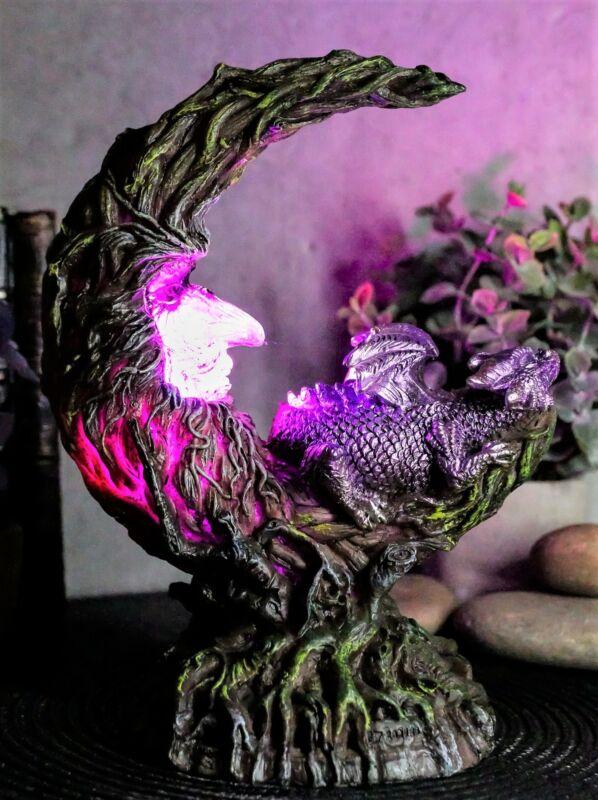 Ebros Purple Dream Dragon Nestling in Greenman Crescent Moon LED Figurine