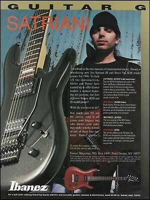 Used, Joe Satriani Ibanez JS1000 Deluxe Guitar 1996 ad 8 x 11 advertisement for sale  Shipping to Canada