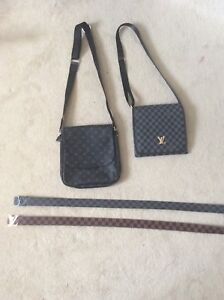2 Louis Vuitton REPLICA belts and 2 Louis Vuitton side bags