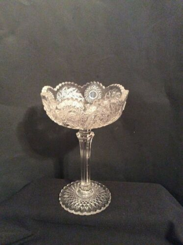 Vintage Cut Glass Tall Pedestal Compote Candy Dish Fans Pinwheels Sawtooth Rim