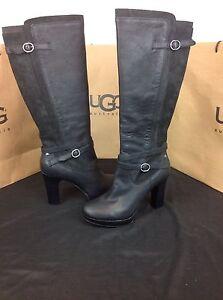 ugg australia linde black leather harness high heel