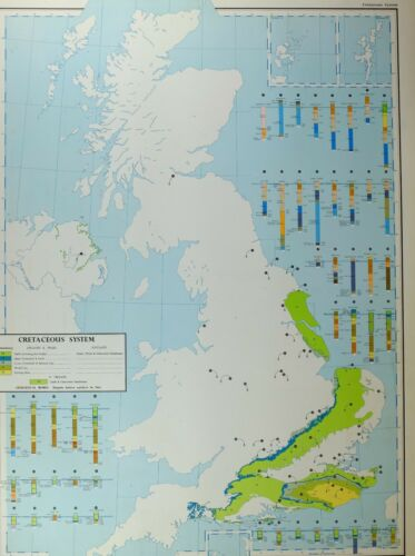 VINTAGE LARGE MAP of BRITAIN CRETACEOUS SYSTEM CHALK GAULT WEALD CLAY HASTINGS