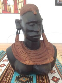 SUPERB OLD LARGE MASAI QUEEN BUST - TANZANIA EAST AFRICA