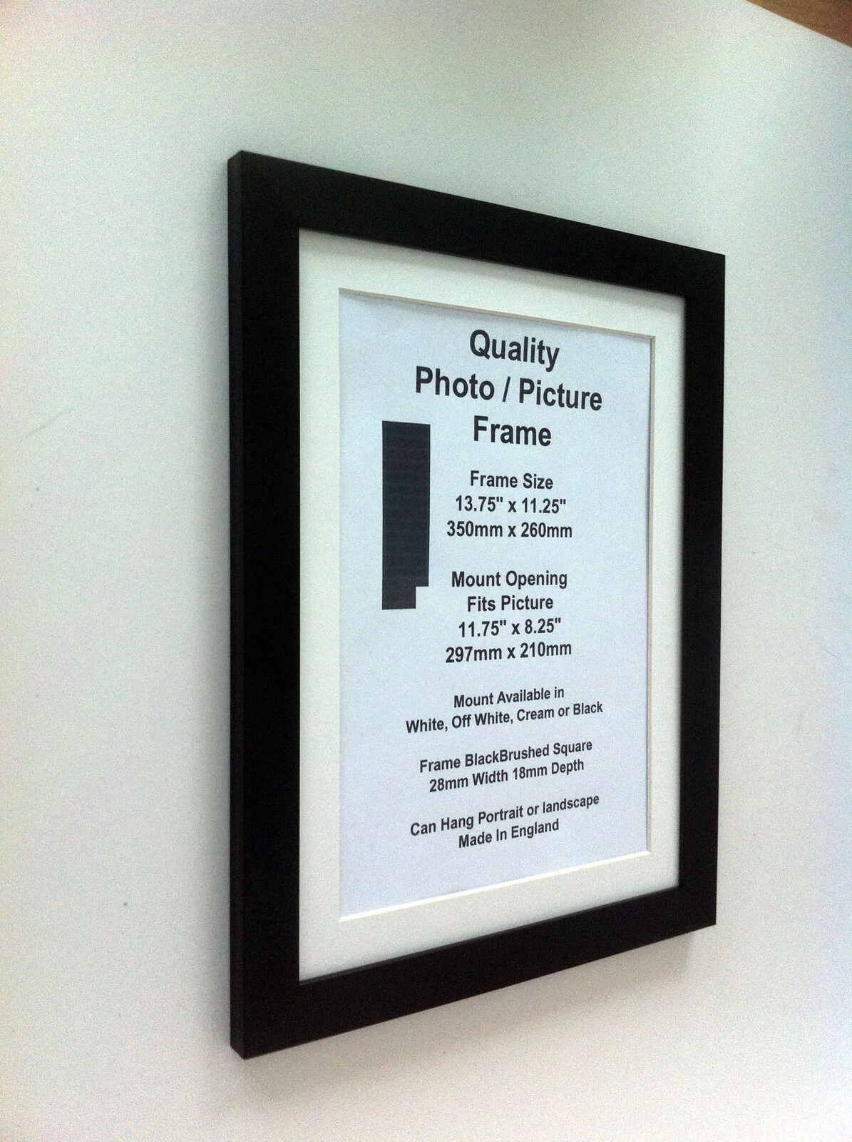 Black Photo Picture Frame 28mm 17 X17