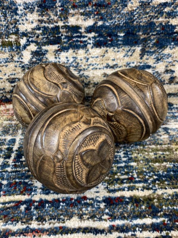 "Set of 3 Vintage Carved Design Wooden Balls Orbs Spheres 4"" Solid Sphere Wood"
