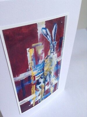 'HARE' Birthday Greeting Card Printed From original Painting